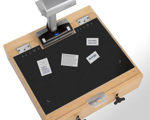 Scantisch kann auch mit Hintergrundauflage (Scanmatte) genutzt werden