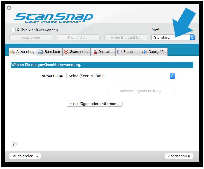 ScanScap Profil anlegen